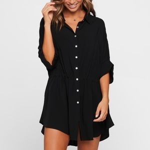 l*space M/L black Pacifica tunic cover-up NWT